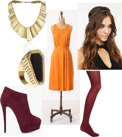 Fall Wedding Style by kaitland-hunter featuring stone jewelryPleated dress, $60Falke hosiery, $8.25Giuseppe Zanotti stiletto high heels, $795Belle Noel by Kim Kardashian long necklace, $188Belle Noel by Kim Kardashian stone jewelry, $27Leather hair accessory, $35