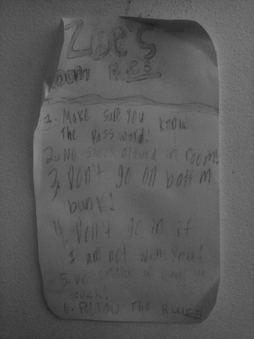 Zoe's Room Rules! Sign made by 8-year-old girl, NYC