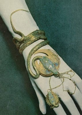 Snake Braceletca. 1899Georges Fouquet and Alphonse Mucha designed this snake bracelet for actress Sarah Bernhardt.