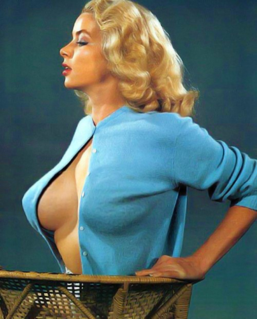 """""""Eve Meyer (December 13, 1928 – March 27, 1977, as Evelyn Eugene Turner) was an American pin-up model, motion picture actress, and later, film producer. Much of her work was done in conjunction with sexploitation filmmaker Russ Meyer to whom she was married from April 2, 1952 until 1969.""""  How do they stay up like that? I assume this was before implants."""