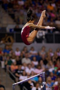 gabby douglas. olympic gymnast. little powerhouse and so built & toned from the workouts. best of luck to her in London!!
