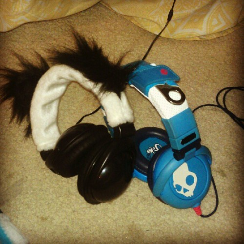 #skullcandu #headphones #babyblue #panda #bear (Taken with Instagram)