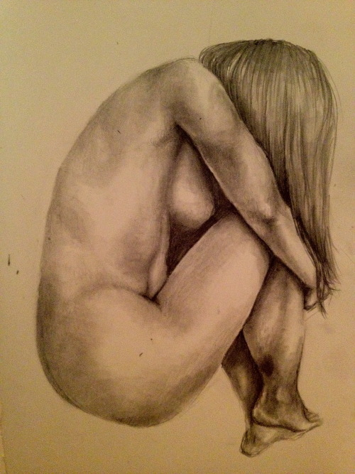 vanessadudley:  Crouched woman HB Pencil in sketchbook
