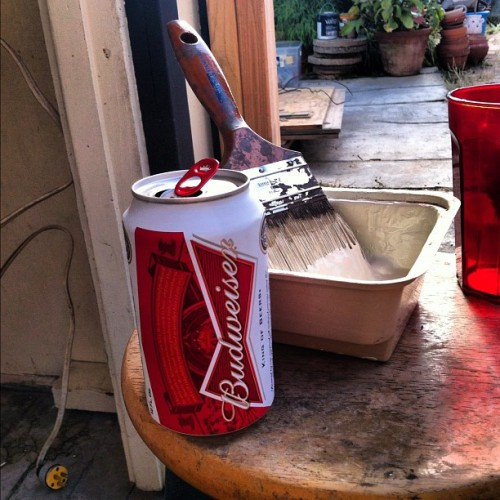 Manual labor drink. #thisisnotanamericanbeer #budweiser #painting  (Taken with Instagram)