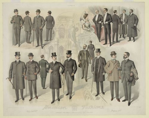 Mens' day, business and theatre fashions, Aug 1899