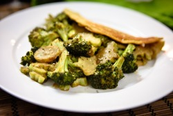 Chilla (Chickpea Omelette) with Maple-Roasted Cheezy Broccoli     (click image for recipe)