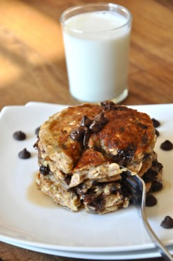 totallyhealthynerd:  life-inthe-fast-lane:   Chocolate Chip Oatmeal Pancakes  holy. santa claus shit.  I just foodgasmed and I haven't even tried it yet.