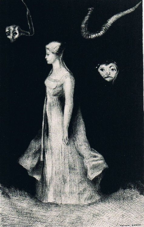 foxesinbreeches:  The Haunting by Odilon Redon, 1893