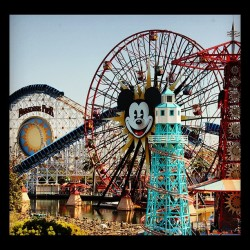 #disney #rides #ferris #wheel #mickey #land #california #Anaheim #water #color #red #blue #trees #fun #people #crowd #jj #eavig  (Taken with Instagram)