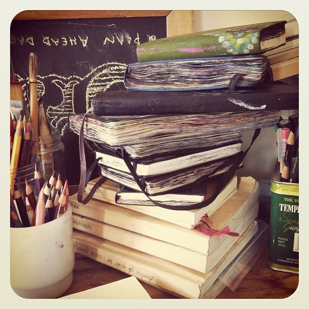 Tower of sketchbooks.  There's just something about a stack of well-loved journals I love….