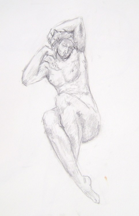 pencil on paper sketch of sculpture in Philadelphia museum of art