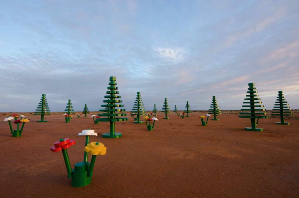 A Lego forest popped up today in the outback town of Broken Hill, New South Wales, Australia! Way too far from Sydney (13 hour drive) otherwise I'd be on my way there by now haha. (More pictures)