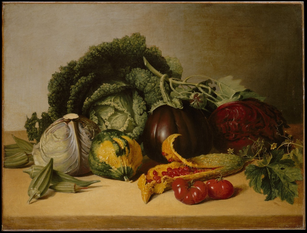 aleyma:  James Peale, Still Life: Balsam Apple and Vegetables, c.1820s (source).