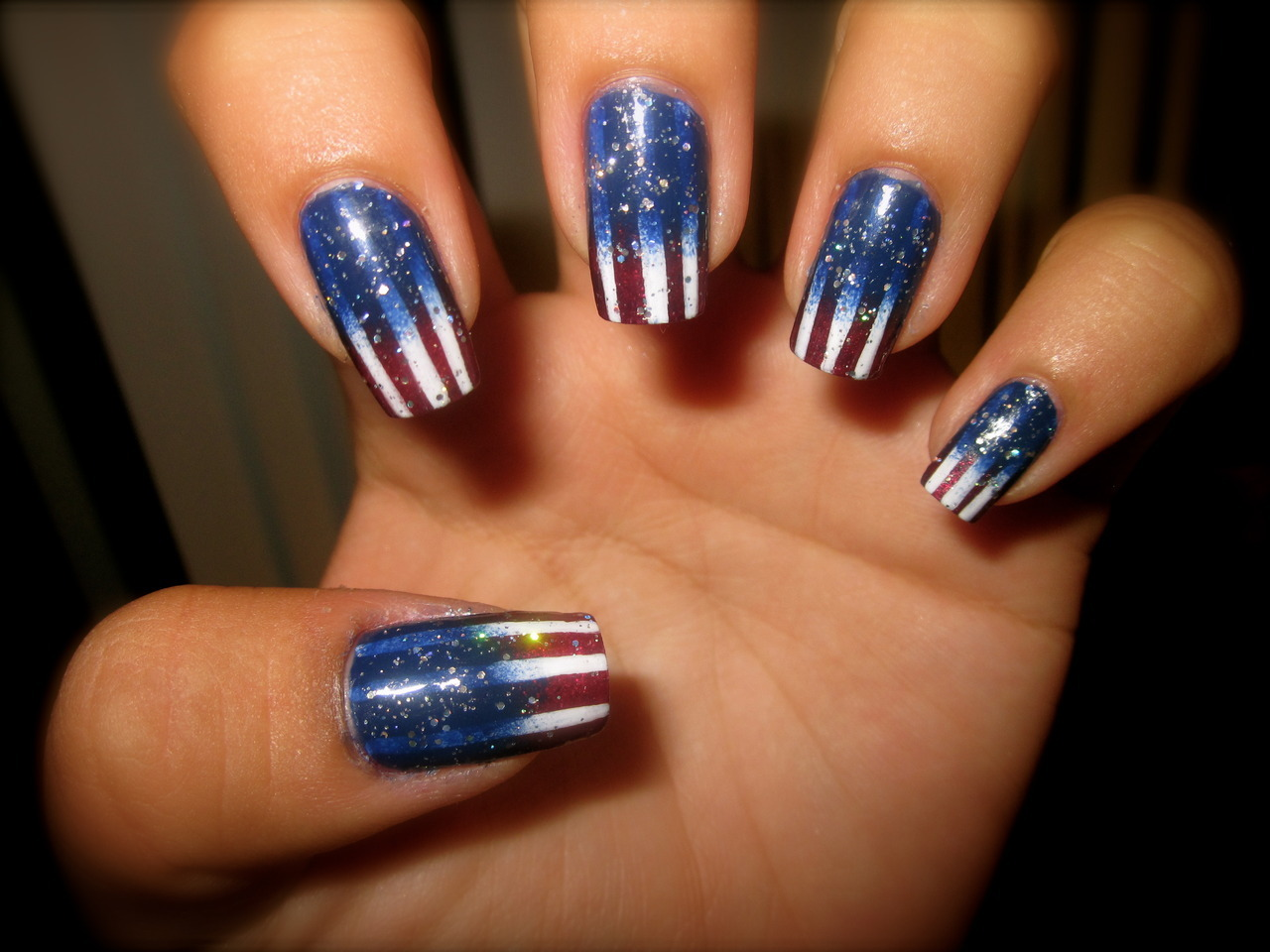 'MERICA MANICURE. Version 2.0.  Did another gradient because I just really love doing them. I used Julep's Glenn (red) and Sally Hansen's Complete Salon Manicure Thinking of Blue and just some white and some Wet 'n' Wild silver glitter. Happy (early) 4th of July, everyone! Dedicating this manicure to 6/D!