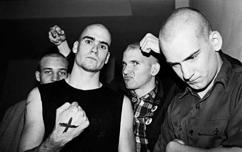 Brian Gay, Henry, John Stabb and Ian Mackaye. Irving plaza NYC for a Dead Kennedys show 80/81