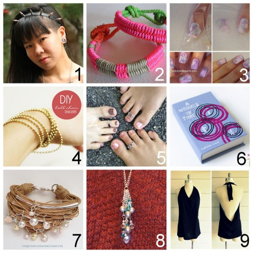 Roundup Nine DIY Jewelry, Accessories and Fashion Tutorials PART FIVE. Roundup of the past week in case you missed anything. June 24th through June 30th, 2012. *For past roundups go here: trebluemeandyou.tumblr.com/tagged/roundup *And I know that Photo #4 looks like it's morphing into a foot in Photo #5! DIY Spike Headband Tutorial Using Grommete Tape (Syl and Sam for Chictopia) here.  DIY Neon Cord Wrapped Rope Bracelet (Wobisobi) here. DIY Watercolor Nails Using a Plastic Sandwich Bag (Polish and Pearls) here. DIY Beyond Easy $1.50 Ball Chain Bracelet (Bettina's Blog) here. DIY Beaded Wire Toe Ring or Worry Ring (Creativity in Pieces) here. DIY Advanced Book Clutch Tutorial Inspired by Olympia Le-Tan with Free Templates and link to beginner/intermediate tutorials (Sprinkles in Spring) here. DIY Pearl, Tube and Cording Bracelet Tutorial (inspiration & realisation) here. Inspired by a designer who has asked not to be mentioned.   DIY Swarovski Crystal Cluster Necklace (Pretty Quirky Pants) here. DIY Tee Shirt to No Sew Tied Halter Top (Wobisobi) here.