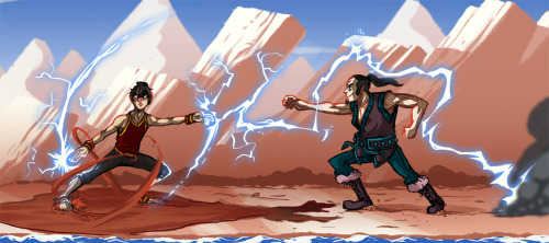 "Sooo I drew myself fighting my friends ""Avatar-persona"" who is a Earth Bender who was raised in the Southern Water Tribed. He eventually learned how to MUD-BEND! then me shooten lightnin at him with my fire bender persona… I was going to finish it but I lost my tablet pen, but now I found it and just wanna move on from it haha…aaaaah…."