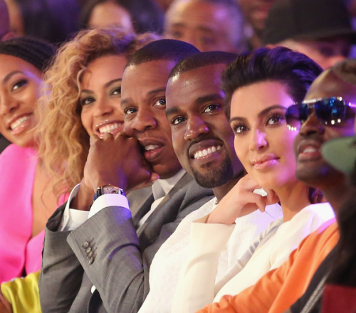 Jay-Z, Beyonce, Kanye West, and Kim Kardashian attend the 2012 BET Awards in Los Angeles.