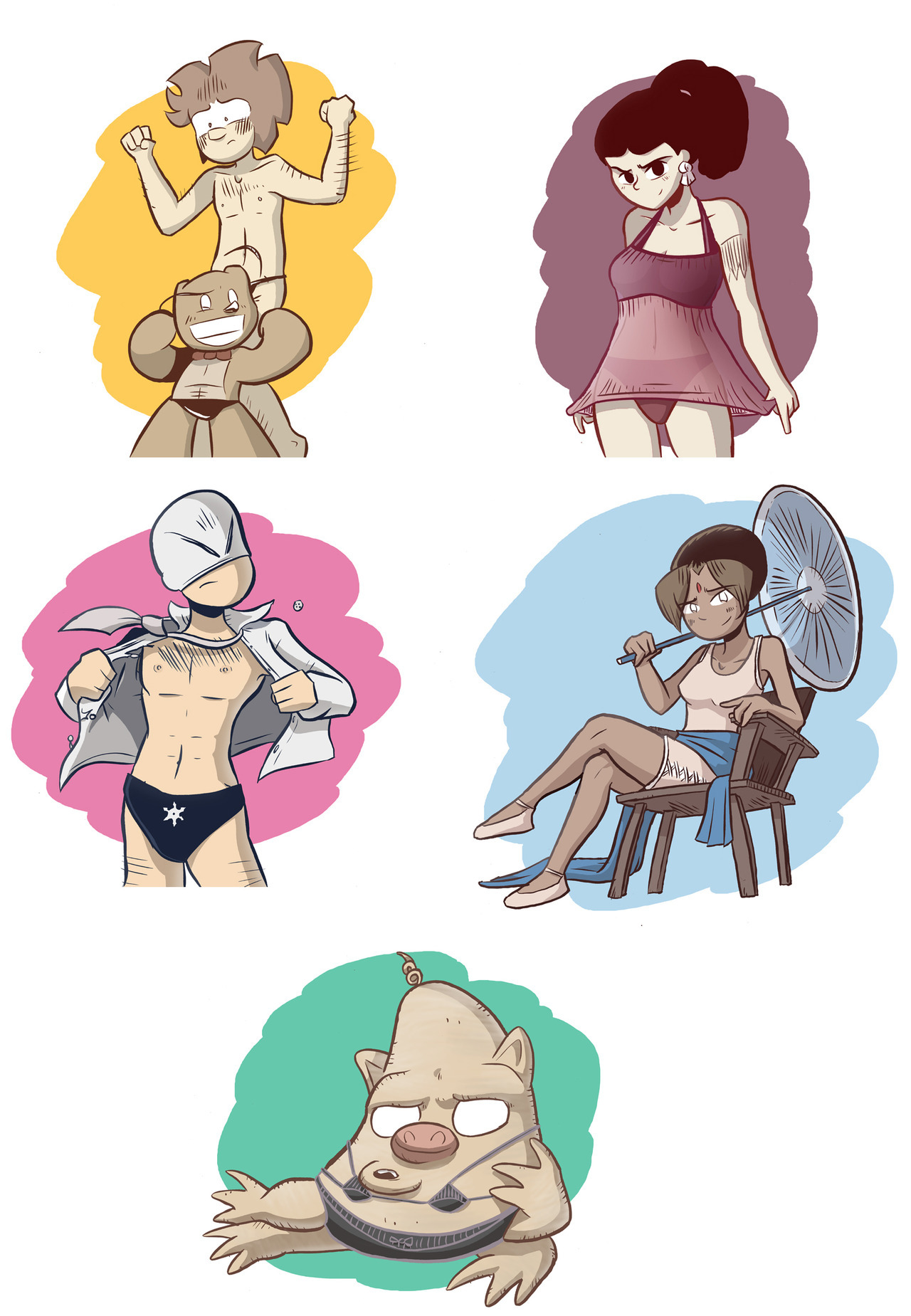 Here are all the pin-ups I drew on Friday, with a few post-Friday colouring tweaks. It's still seven months short of a full calendar, I guess! Maybe I will draw a few more later. I'm kind of curious what obscure supporting cast members they'd have to scrape up to actually fill the last few months. A couple of folks have asked if I'm going to sell any prints of these, or do any originals. I probably could! Email me if you are interested.