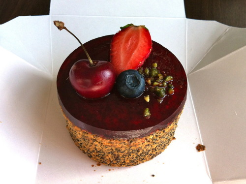 What: Poppy Seed Cake with Raspberry Jelly Where: L'Eto Caffe, Wardour Street, London