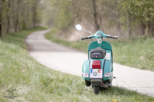 Vespa in a green field.. with a smile ;) (via woyo by Outburner on Flickr)