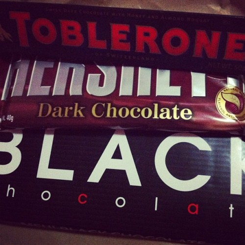 Dark #dark #chocolate #sweets #black #hersheys #meiji #toblerone #cocoa  (Taken with Instagram)