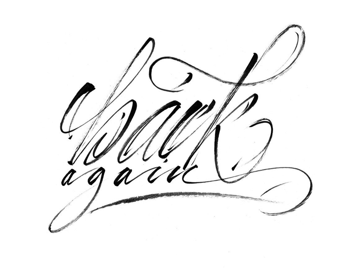 calligraphi.ca - back again - pentel calligraphy brush pen on paper - Kinessisk