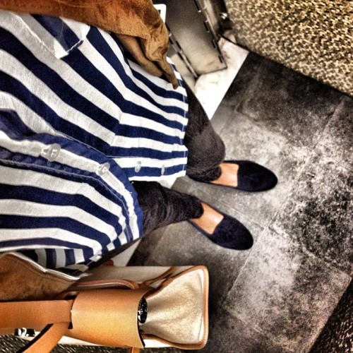 Let the week commence #striped out… #muzungusisters #loafers, #sandro #hermes #herbag  (Taken with Instagram)