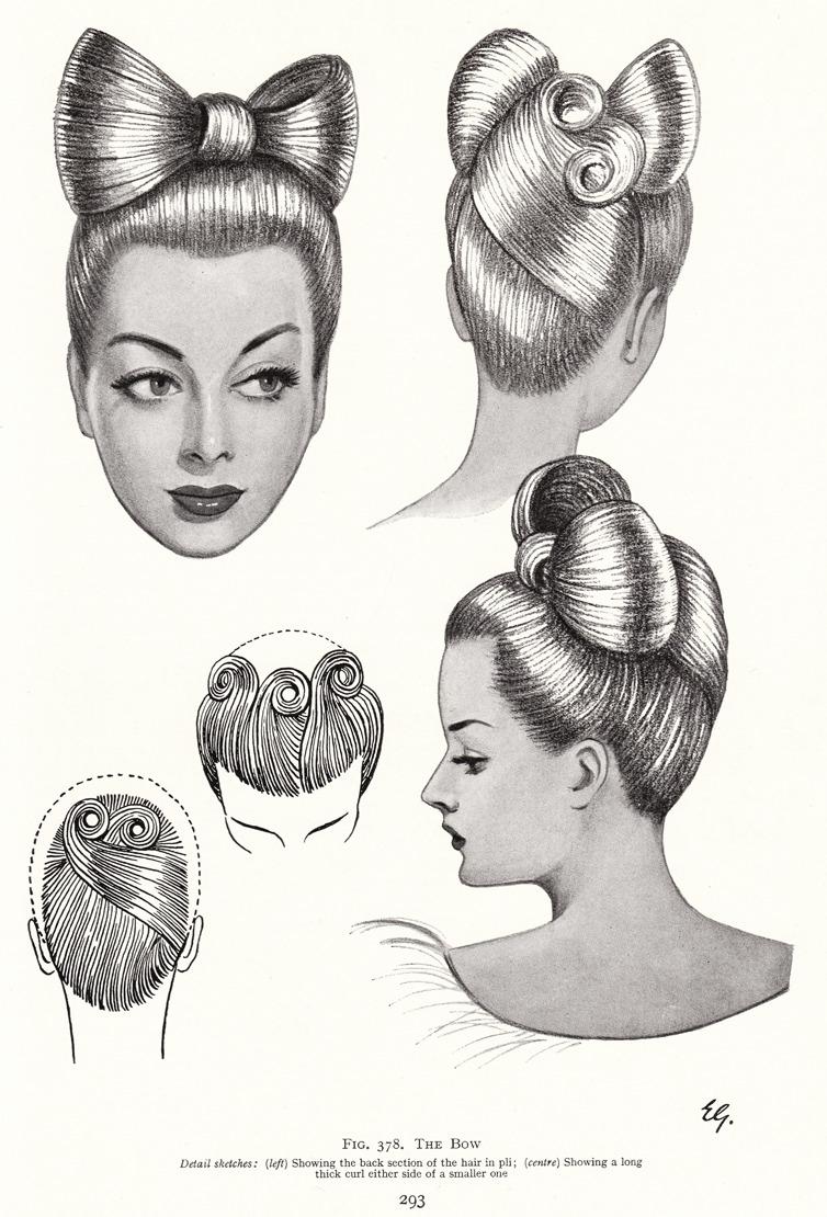 eatmyhandbagbitch:  kronstadt21: From The Art & Craft of Hairdressing, N E B Wolters, 1958 edition. Via Vintage Scans.