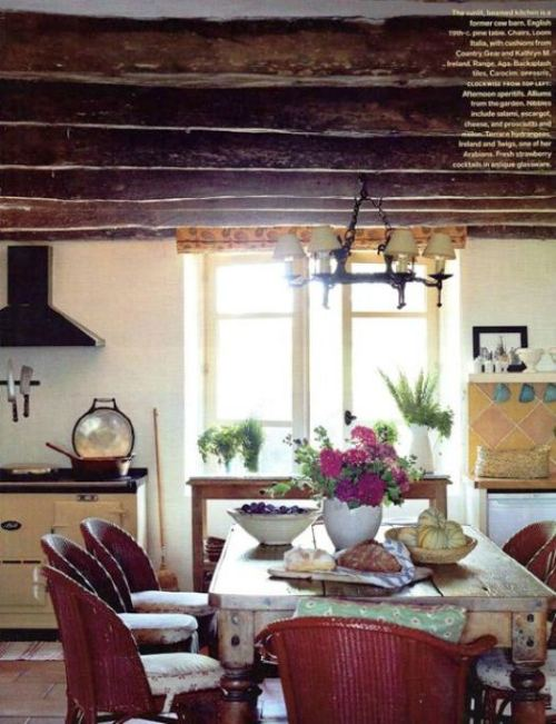 distressed and vintage, with beams on the ceiling