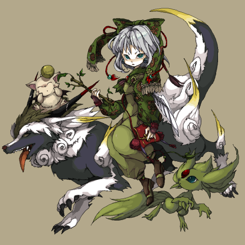 Eiko with a couple of her summons (Fenrir and Carbuncle) and Mog