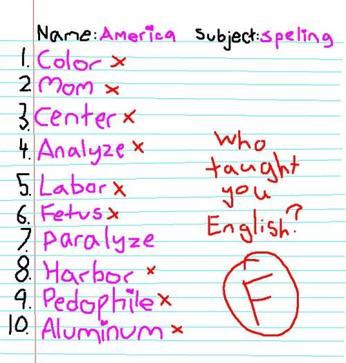 thesearethethingsinmyhead:  American spelling hurts my eyes, but upon researching for this comic I discovered the entire English language hurts my brain. Time to learn French, I suppose.
