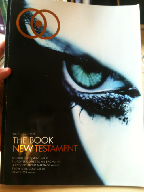 New Testament in magazine form. Created from a secular perspective. Great resource! Check out www.illuminatedbible.com