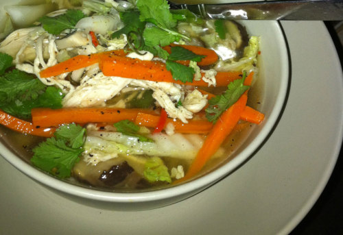 Asian Style Chicken Soup Sometimes, when I go to the gym after work, #boyfriend will do the prep for our dinner, and I'll put it all together when I get home. This is a brilliant recipe to get someone else to chop up for you, because the cooking time is so quick, but even if you have to do your own knife-work it's impressively fast - definitely a good one for a work night.  Ingredients (serves 4) 4 cups salt-reduced chicken stock 1 tablespoon soy sauce 2 small red chillies, thinly sliced 2 carrots, peeled, cut into short, thin sticks 100g fresh shiitake mushrooms, sliced 150g snow peas, shredded lengthways 2 chicken breasts 1/2 Chinese cabbage, finely shredded  1 bunch coriander, leaves picked  Method Poach your chicken breasts, let them cool a bit, and then shred with a fork. Put aside for now. Combine stock, 2 cups water, soy sauce and chillies in a large saucepan over medium heat. Bring to a simmer. Add carrots, mushrooms, snow peas and chicken to pan. Reduce heat to medium-low and simmer for 2 minutes. Add cabbage and cook for 1 minute or until cabbage wilts. Stir half the coriander into soup. Divide soup between bowls. Top with remaining coriander and serve. This recipe is from Taste originally, and the only modification I've made is subbing in poached chicken for BBQ chicken. If you weren't being terribly strict about your calorie consumption, using a BBQ chicken would probably speed up your process a bit. Also, sometimes I top it with some chili flakes, because that's how I roll : )
