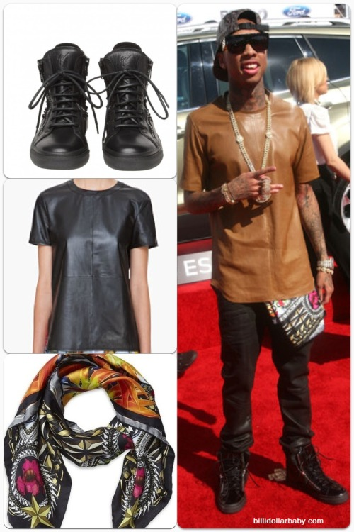 GET THE LOOK: Tyga at the 2012 BET Awards spotted on the red carpet wearing Giuseppe Zanotti Sneakers ($775) in Black, a Givenchy Scarf from the Spring/Summer 2012 Collection and a Dior Homme Nappa T-Shirt ($2,952)