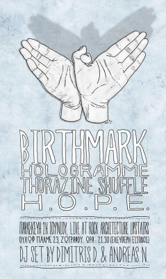 """Birthmark Live @ Rock Architecture Poster"" by Christina Tsevi"