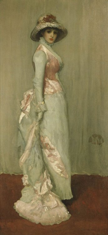 "treselegant:  Porträt der Lady Meux by James Abbott McNeill Whistler.  ""Portrait of Lady Meux is a name given to several full-length portraits by James Abbott McNeill Whistler."" ""Whistler painted a second portrait of Lady Meux in 1881 called Harmony in Pink and Grey (Portrait of Lady Meux) which belongs to the Frick Collection in New York City. This full-length portrait shows the subject on stage standing before a pinkish-grey curtain, in an obvious allusion to her alleged stage career. She wears a light grey dress trimmed in pink satin. The butterfly emblem that Whistler used as a signature is on the right side of the painting a little below the middle. Whistler assigned many of his paintings titles with terms like ""arrangement"" and ""harmony"", which may be interpreted as either musical or abstract."""