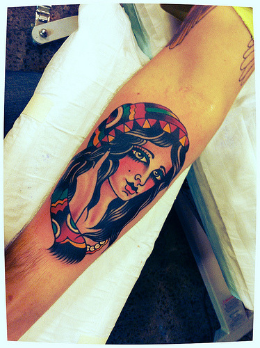 inpictures:  girl face on forearm i did today.