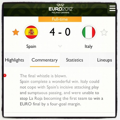Viva Espana! #euro2012 #final #spain #won #happy  (Taken with Instagram)
