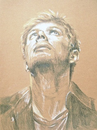 Sketch of Dean Winchester done as part of the artwork for bellatemple's wonderful story, Films About Ghosts.