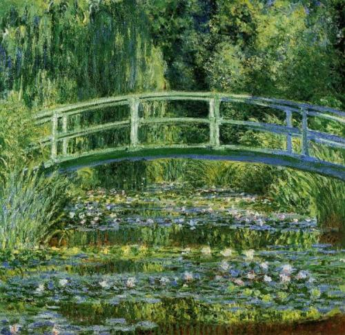 "Water Lily Pond, 1897, oil on canvas, The Art Museum Princeton University Claude Monet . ""If you absolutely must find an affiliation for me, select the Japanese of olden times ; their rarefied taste, their aesthetic that evokes a presence by means of a shadow, and the whole by means of a fragment. They are a profoundly artistice people."" .  Claude Monet (right) in his garden at Vernon, 1922The New York Times Photo Archives"