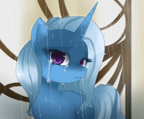 "swirl-draws:  More Trixie.More sad.  Look at that face. There's no way Twilight could resist that face. That's a ""I really really need a hug"" face."