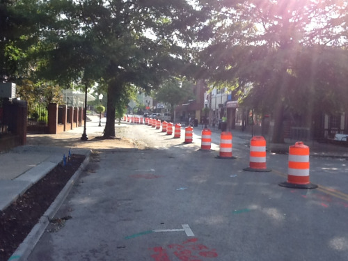 Work on College Ave. has begun. Remember, traffic is now one way from Draper to Otey (Souvlaki's to Squires).