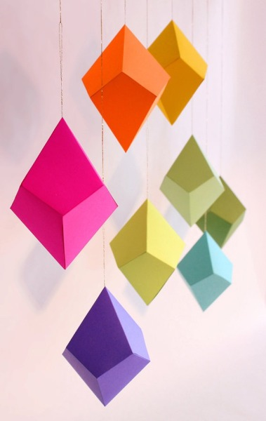 whynotjustdiy:  diy geometric paper ornaments! gonna hang these suckers allllllll over my room :D click the image for the how-to!