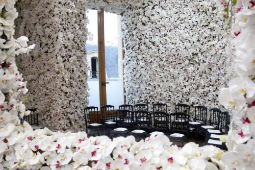 "aesopy:  Set of Christian Dior Haute Couture F/W 2012   ""Flowers, one of Christian Dior's obessions, are the central point of the set for today's show at Dior"""