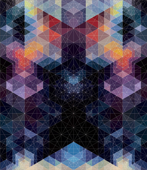 bluprint:  A master of color and geometric composition, Andy Gilmore's work is often characterized as kaleidoscopic and hypnotic, though it could just as well be described as visually acoustic, his often complex arrangements referencing the scales and melodies in music.