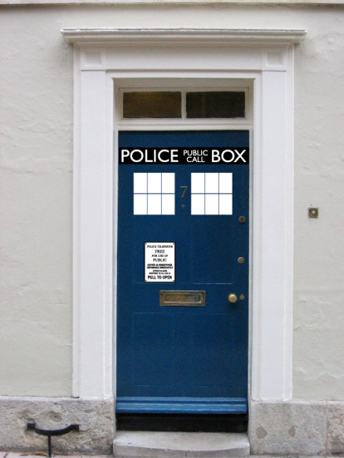 sogeekchic:  Police Box door vinyl ($29.99) available from Walkingdeadpromotion Something something bigger on the inside.  I kinda need this