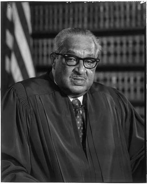 "pbsthisdayinhistory:  July 2, 1908 First African-American U.S. Supreme Court Justice Thurgood Marshall Born On this day in 1908, American civil rights lawyer Thurgood Marshall was born.  Marshall became a pillar of the Civil Rights Movement as one of his major victories demolished the legal basis for racial segregation in public schools. The life of Justice Thurgood Marshall is commemorated in a one-man play titled ""Thurgood,"" written by George Stevens, Jr. and was featured on Broadway in 2008 starring Laurence Fishburne.  Watch Tavis Smiley's interview with Fishburne about his role in the Broadway play. Photo: Library of Congress"