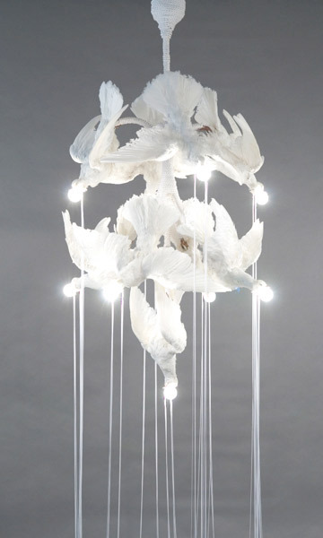 Iris Schieferstein, Leuchter 2008, Animal parts, plaster, wax, acrylic, glass, iron, thread, electricity, 53 inches high, 34 inches diameter