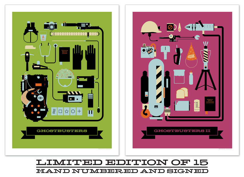 "Now available in my shop! Ghostbusters & Ghostbusters II inspired art prints! LIMITED EDITION OF 15 HAND NUMBERED AND SIGNED 18"" X 24"" Check it out HERE!"